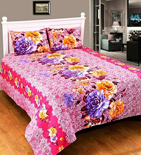 Super India 150 TC Premium Pink Double Bed Sheet with two pillow covers (3 pcs)