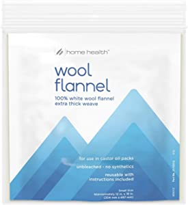 "Home Health Wool Flannel - Small Size, 12"" x 18"" - 100% White Wool, Extra Thick Weave, Unbleached, No Synthetics, for Castor Oil Packs, Reusable - Cruelty-Free, Eco-Friendly"
