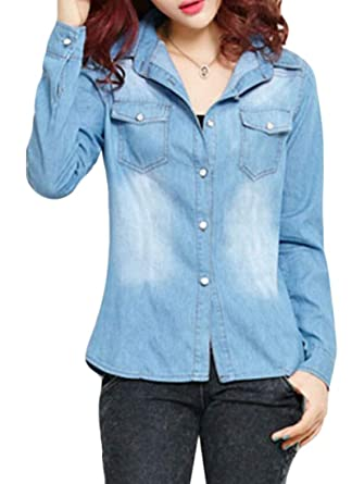 GRMO Women Slim Fit Long Sleeve Button Down Pocket Denim Shirt at Amazon  Women s Clothing store  a953eac35