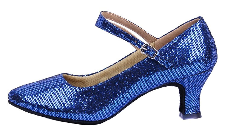 Honeystore Damen's Weicher Boden Mary Jane Glitter Tanzschuhe Blau 39.5 EU W2cV37DMh