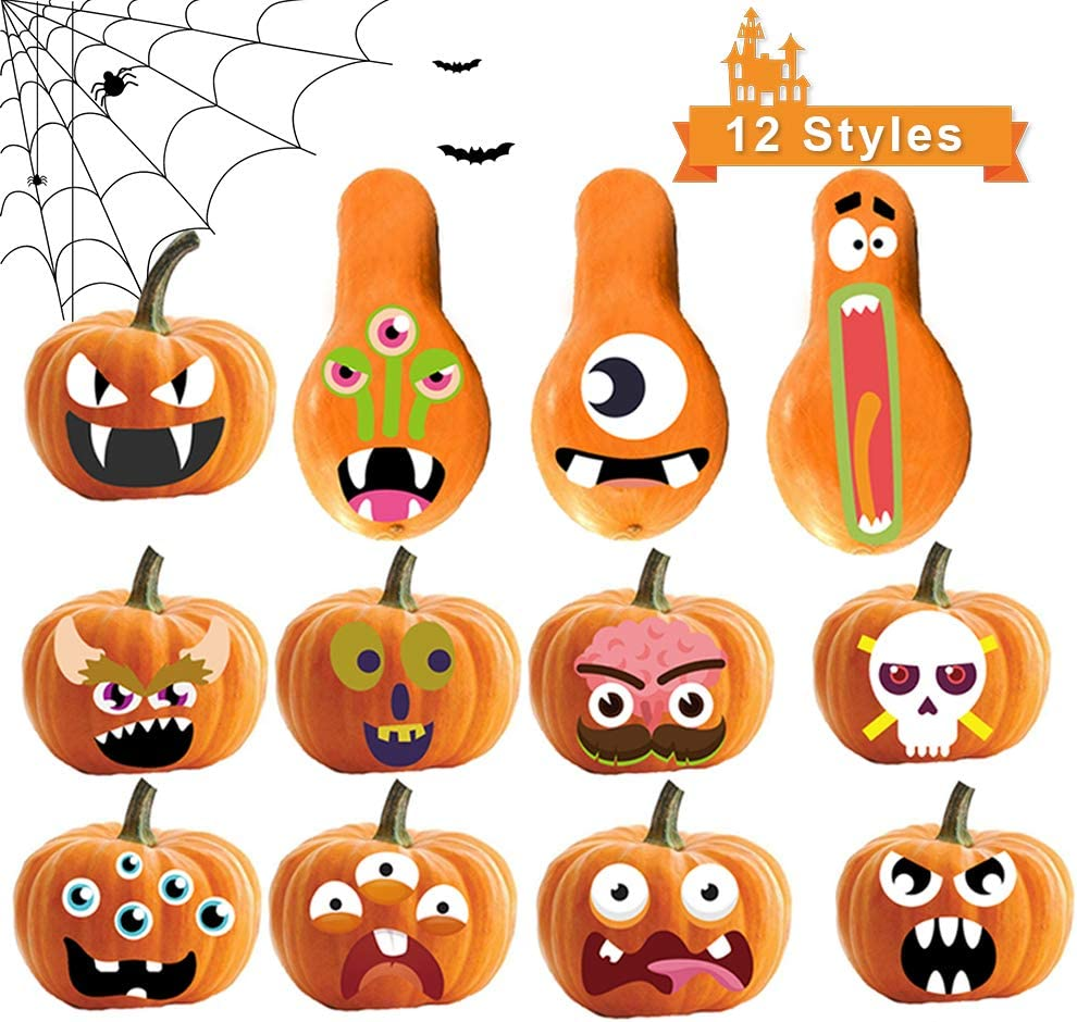 Pumpkins 12 Designs 4 Pack for Halloween Party Supplies Favors Sunlier Pumpkin Decorating Craft Kit