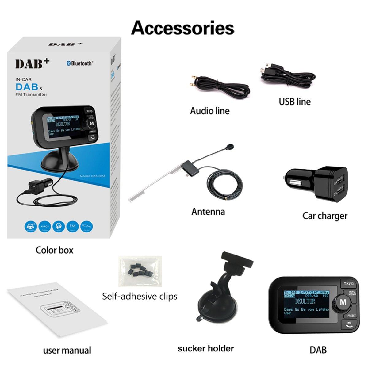 Radio digitale con trasmettitore FM Ricevitore Bluetooth Lettore MP3 Adattatore audio radio Caricatore per auto Chiamata vivavoce 2.3LCD Supporto Rimovibile SAVORI 5 in 1 Auto DAB//DAB