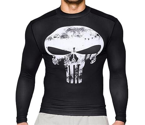 Camisetas Hombre Verano Cuello Redondo Manga Larga Manga Corta Gym Sudaderas Tees Calavera Patrón Colores Sólidos Moda Casual Deporte T Shirt: Amazon.es: ...