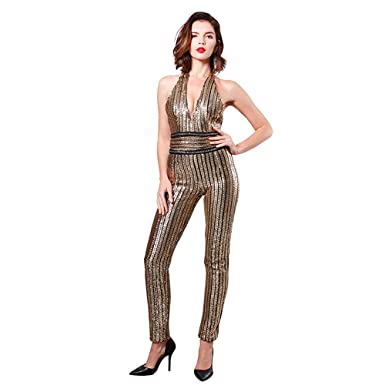 9d28686eea89 Missord Women s Deep-V Strapless Sleeveless Backless Playsuit Sequined  Jumpsuit Gold X-Small