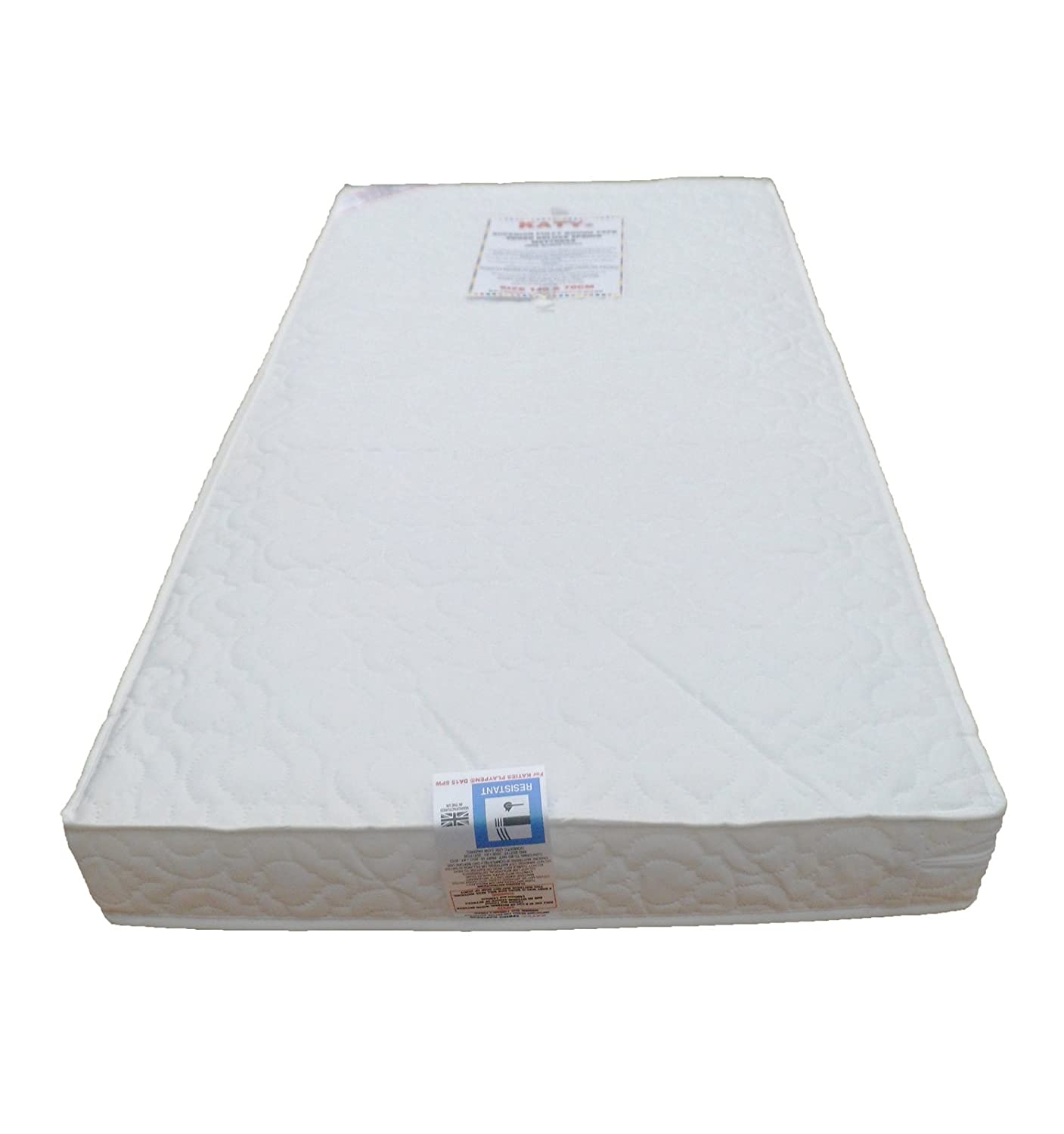 KATY® Superior Deluxe Spring Cot Bed-Junior Bed Sprung Mattress 140x70 x 10CM THICK British Made With High Grade Density Foam CMHR28 BBB-KATY®-140