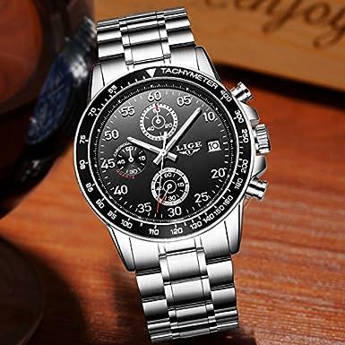 Amazon.com: Relojes de Hombre Cronografo De Cuarzo De Moda Reloj Men para Caballeros RE0111: Watches