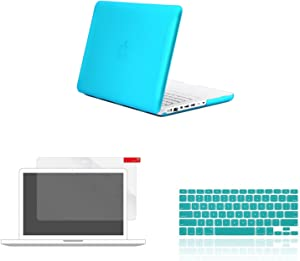 """TOP CASE - 3 in 1 Variety Bundle Rubberized Hard Case, Keyboard Cover, Screen Protector Compatible MacBook White 13"""" (A1342/Latest) -Aqua Blue"""