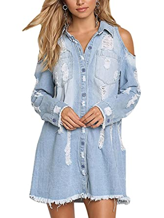 9c60604d8 Sibylla Womens Cold Shoulder Ripped Distressed Denim Shirt Dress Long  Sleeve Button Down Chambray Blouse(
