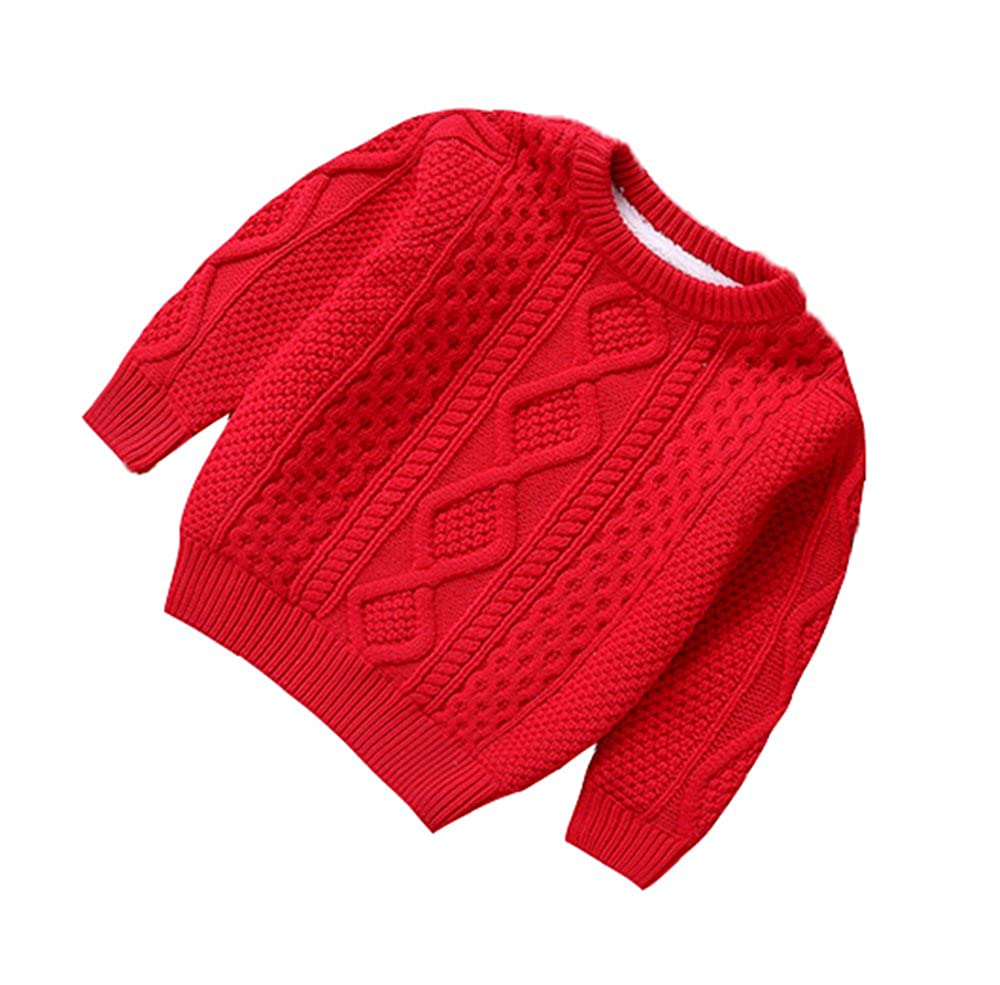 Hellomiko Kids Knit Jumper, Boys Girls Extra Thick Knit Sweater Warm and Cute