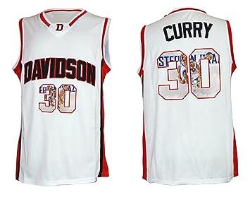 257e45064a7 WEENKS Men s Stephen Curry 30 Davidson Wildcat College Basketball Jersey  XXL White10