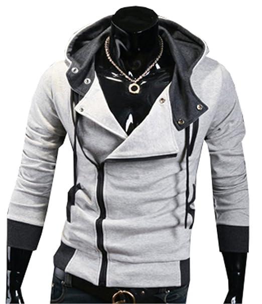 Sudaderas con Capucha Para Hombres Cremallera Color Sólid Personalizada Outwear Chaquetas Mens Casual Hooded Sweatshirts: Amazon.es: Ropa y accesorios