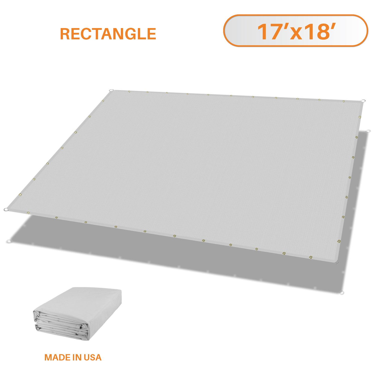 Sunshades Depot Tang 17' x 18' FT Waterproof Rectangle Sun Shade Sail 220 GSM Light Gray Straight Edge Canopy with Grommet UV Block Shade Fabric Pergola Cover Awning Customize Available