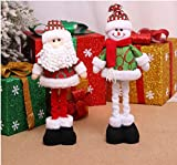 Dream Loom Christmas decorative Dolls,2pcs Retractable Santa Claus & Snowman Plush Figures Stuffed Toys for Xmas Ornament Decoration Gifts (Red and Green)