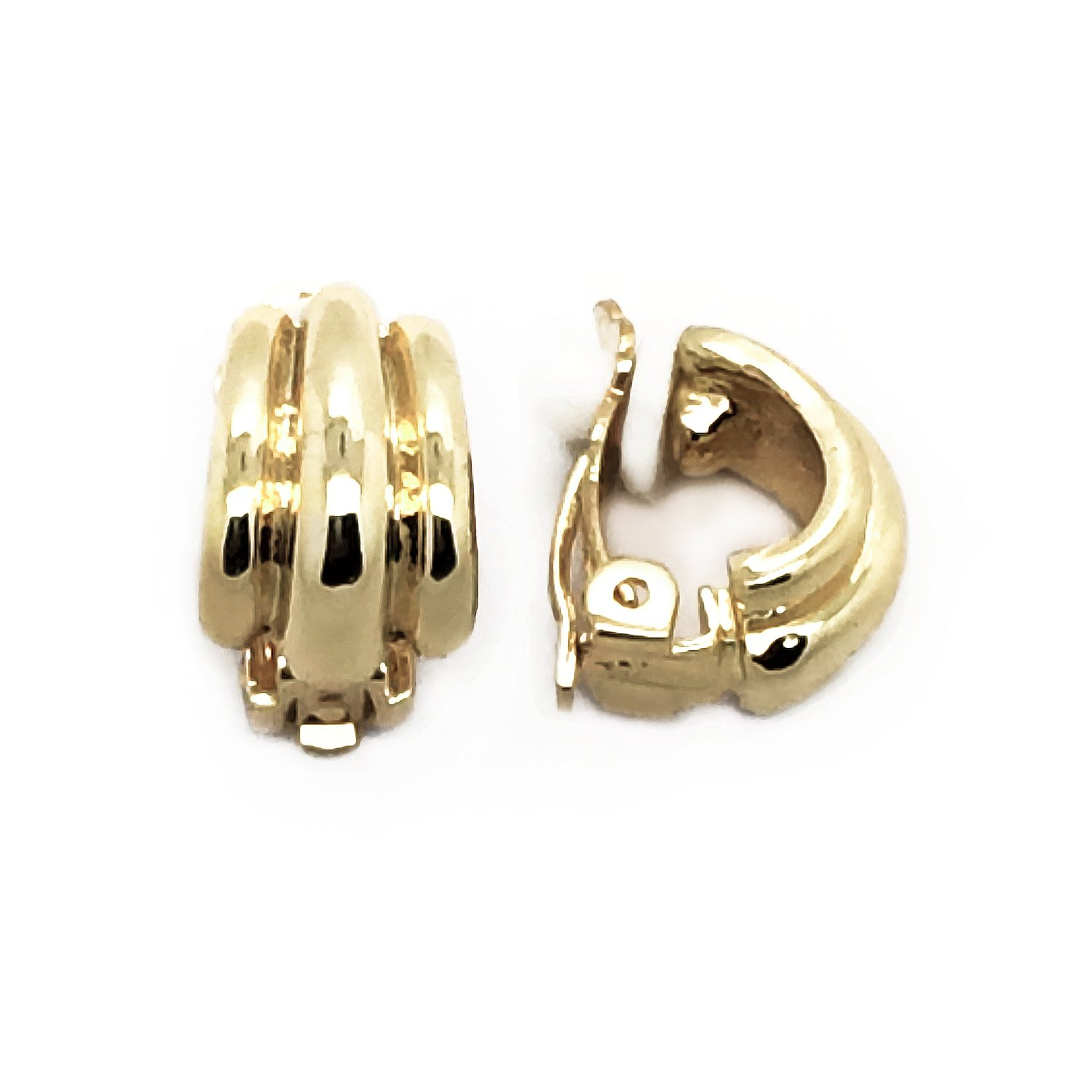 Clip On Earrings Small Gold Plated Minimalist Style Women Fashion