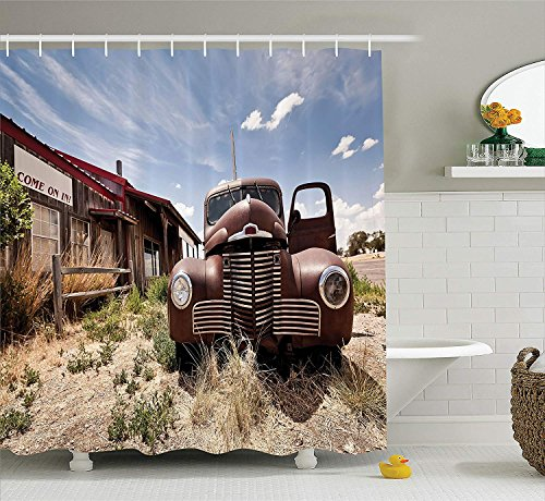 (SZZWY Abandoned Restaurant on Route 66 with Come on in Sign Desert Road Rusty Old Car Picture Americana Decor Collection Polyester Fabric Bathroom Shower Curtain Brown)