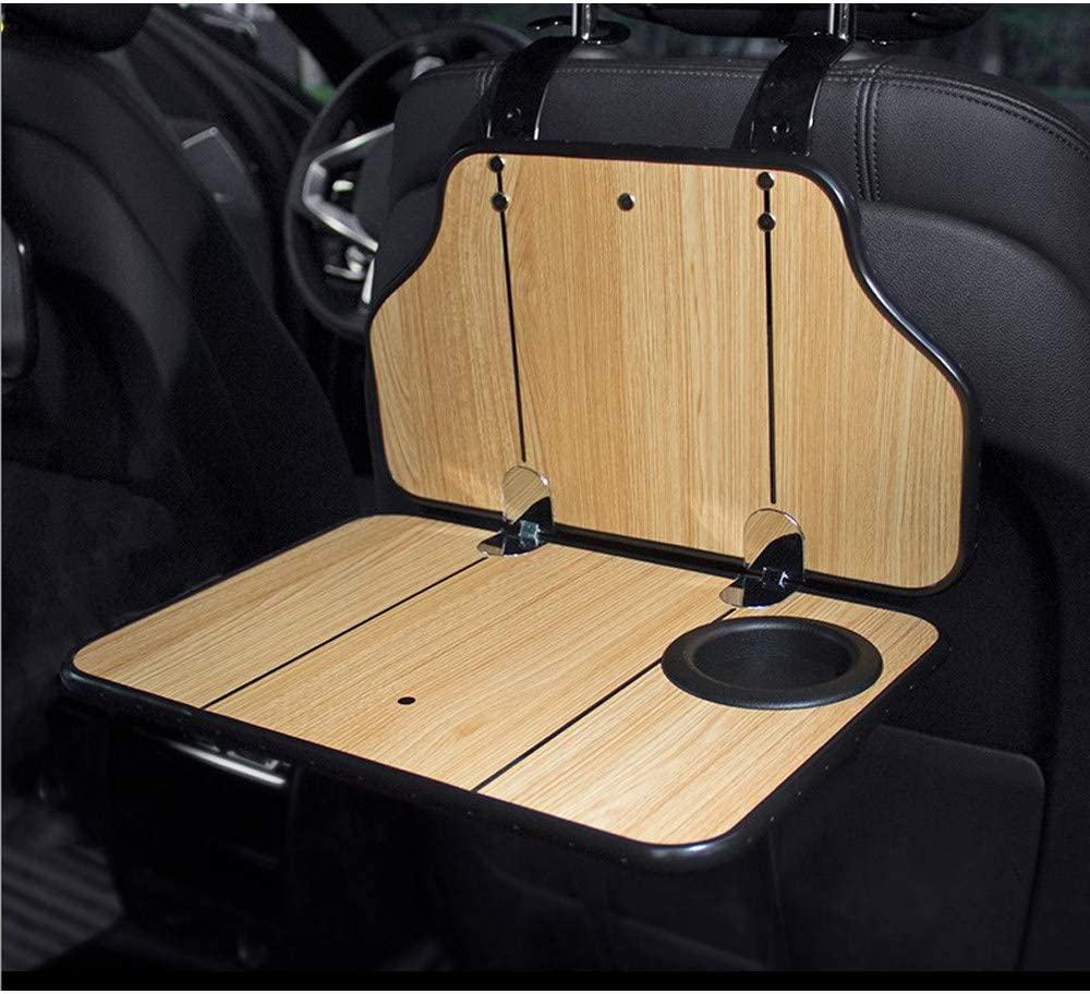 Conral Car Computer Laptop Tablet Foladable Natural Wood Table Car Back Seat Pc Computer Dining Room Desk Holder With Drink Holder Back Seat Headrest Hanging Tables Auto