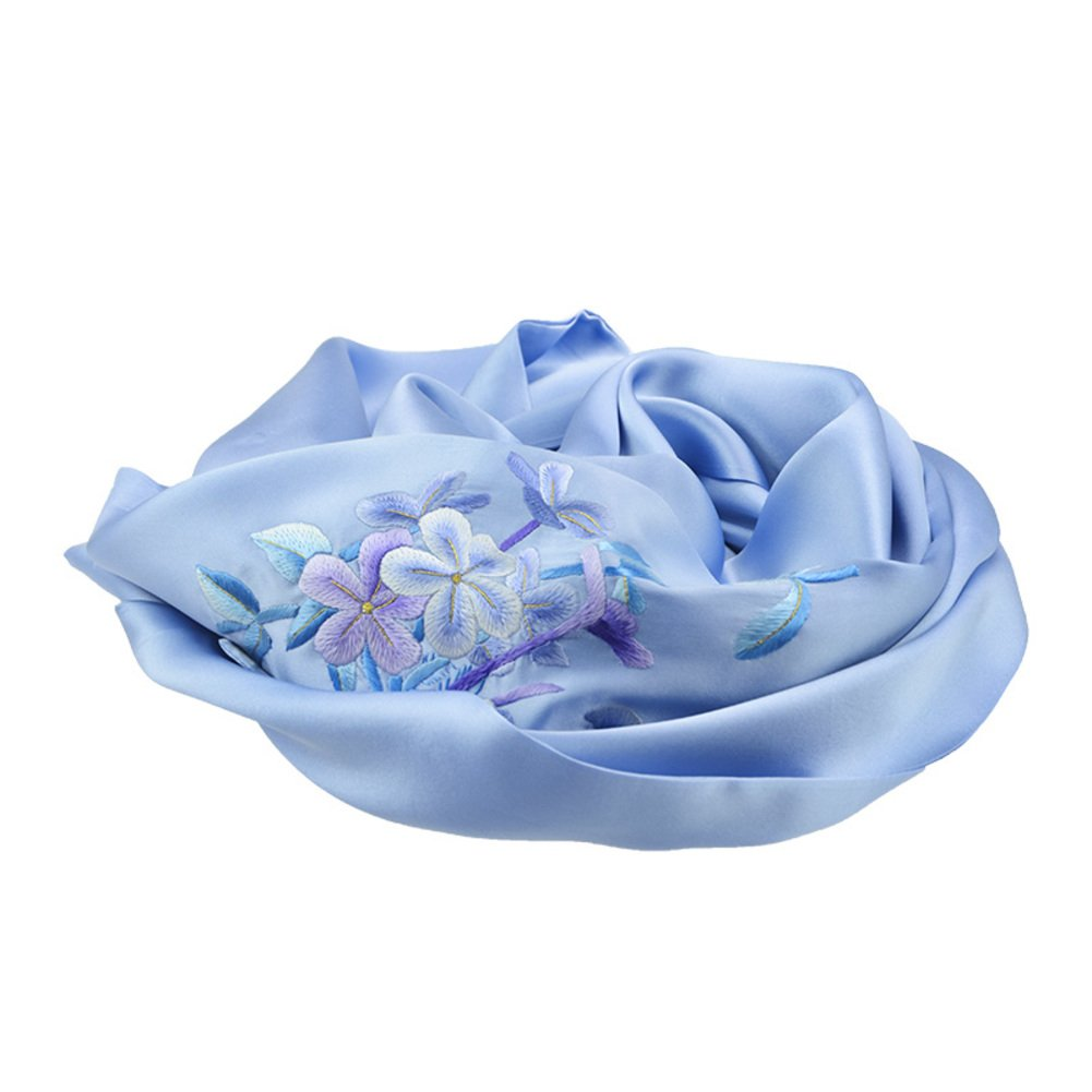Double hand embroidery silk scarf Silk ladies luxury silk scarves-A