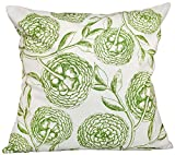 E by design 18 x 18-inch, Antique Flowers, Floral Print Pillow, Green
