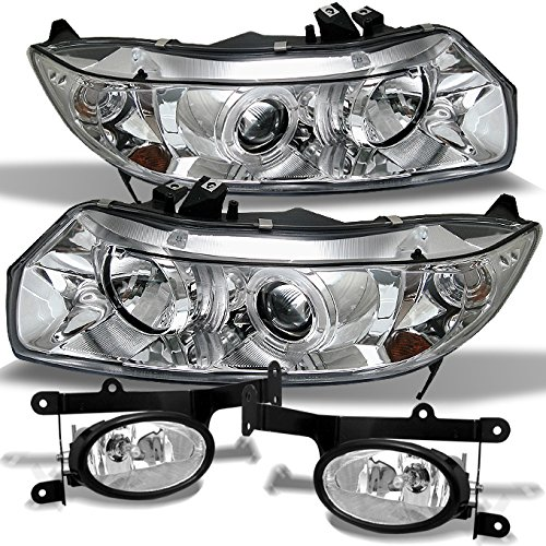 (For 06-08 Honda Civic Coupe 2Dr Chrome Dual Halo Projector Headlights+ JDM Clear Fog Light Lamp)