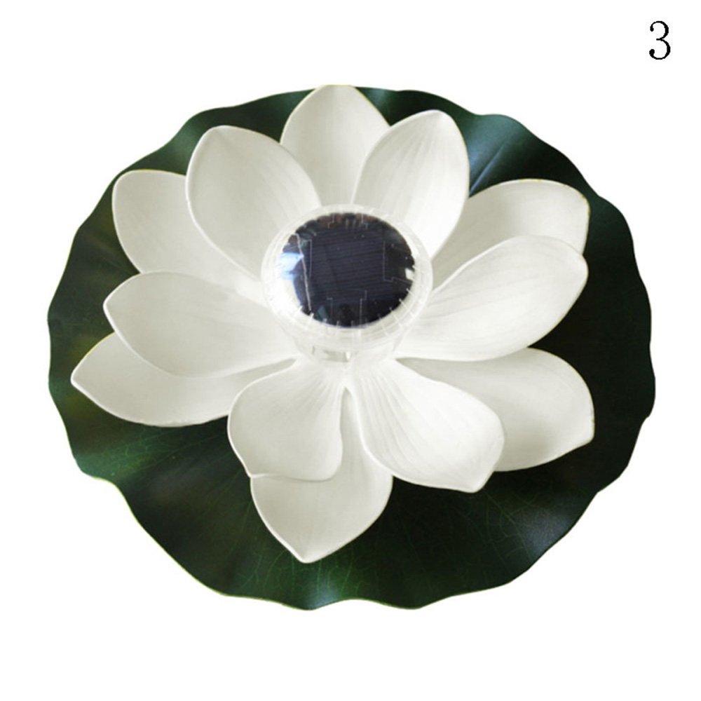 Binglinghua® Solar Outdoor Floating Lotus Light Pool Pond Garden Water Flower LED Lamp (white) by Binglinghua®