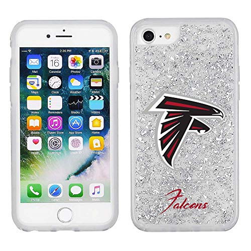 NFL Licensed Atlanta Falcons Clear Protective Silver Glitter Case - iPhone 8/7/6s/6 ()