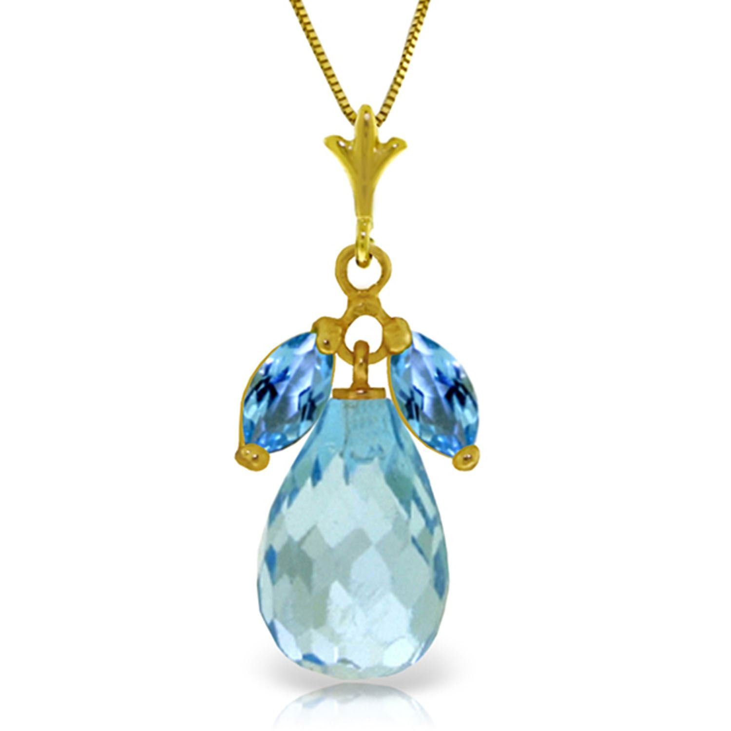 ALARRI 7.2 Carat 14K Solid Gold Love Potion Blue Topaz Necklace with 18 Inch Chain Length