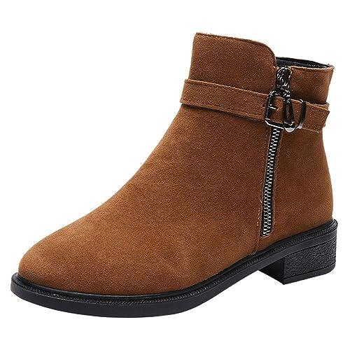 Ansenesna Stiefeletten Damen Mit Absatz Schwarz Braun Elegant Schuhe Frauen  Mädchen Veloursleder Mode Vintage Reißverschluss Boots 09df605a0b