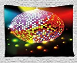 XHFITCLtd Popstar Party Tapestry, Vibrant Colorful Disco Ball Nightclub Celebration Party Dance and Music Print, Wall Hanging for Bedroom Living Room Dorm, 80 W X 60 L Inches, Multicolor