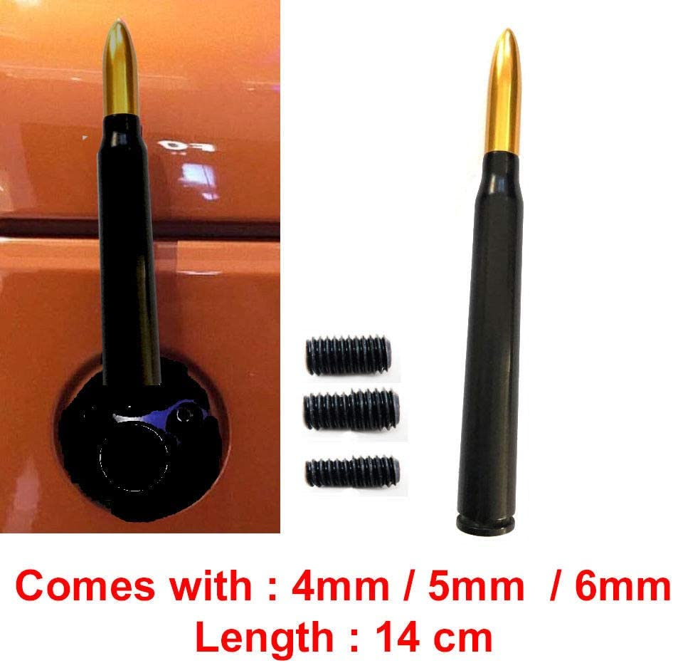 It Comes with M4 M5 M6 Screws 14 cm Bullet-Like Car Aerial Antenna 50 Caliber Bullet Antenna 5.5 in
