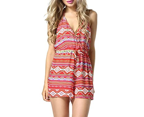c1337870ef8 Image Unavailable. Image not available for. Color  Sexy Women Tight V Neck  Long Sleeved Striped Jumpsuit Romper