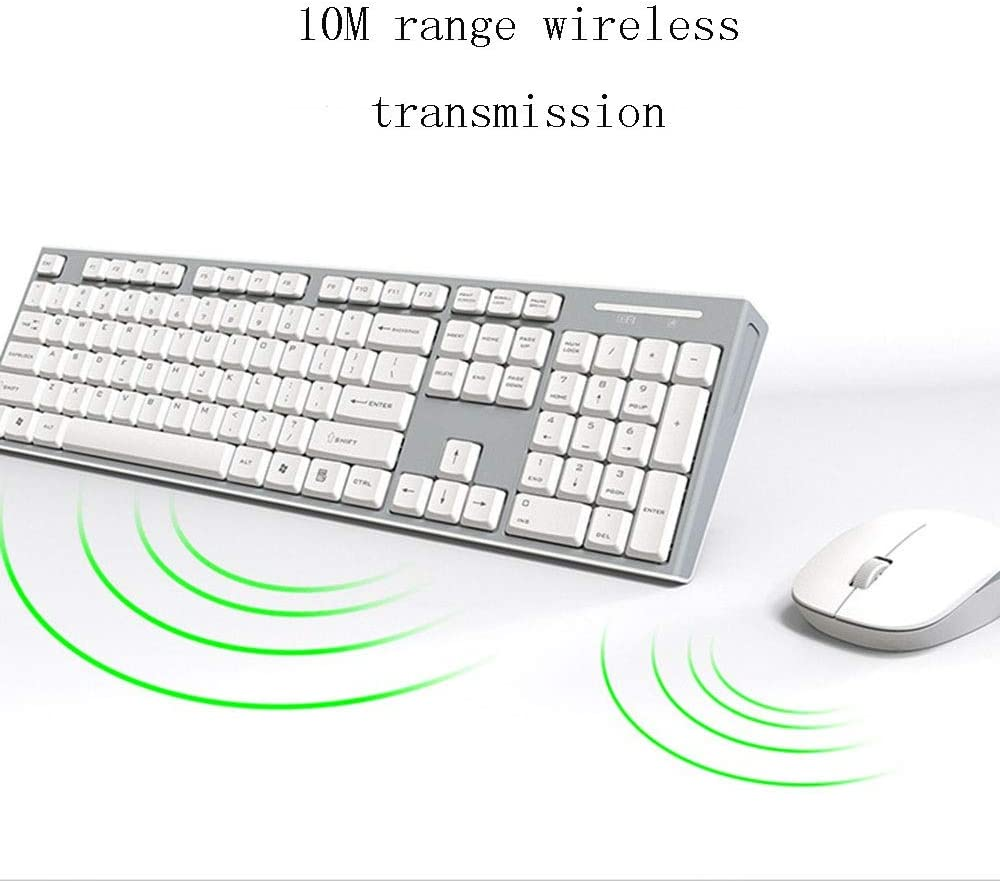 TONGZHENGTAI Wireless Mouse and Keyboard Set Mat Keyboard Mute Button Desktop Notebook Household Office Set High Speed Color : White
