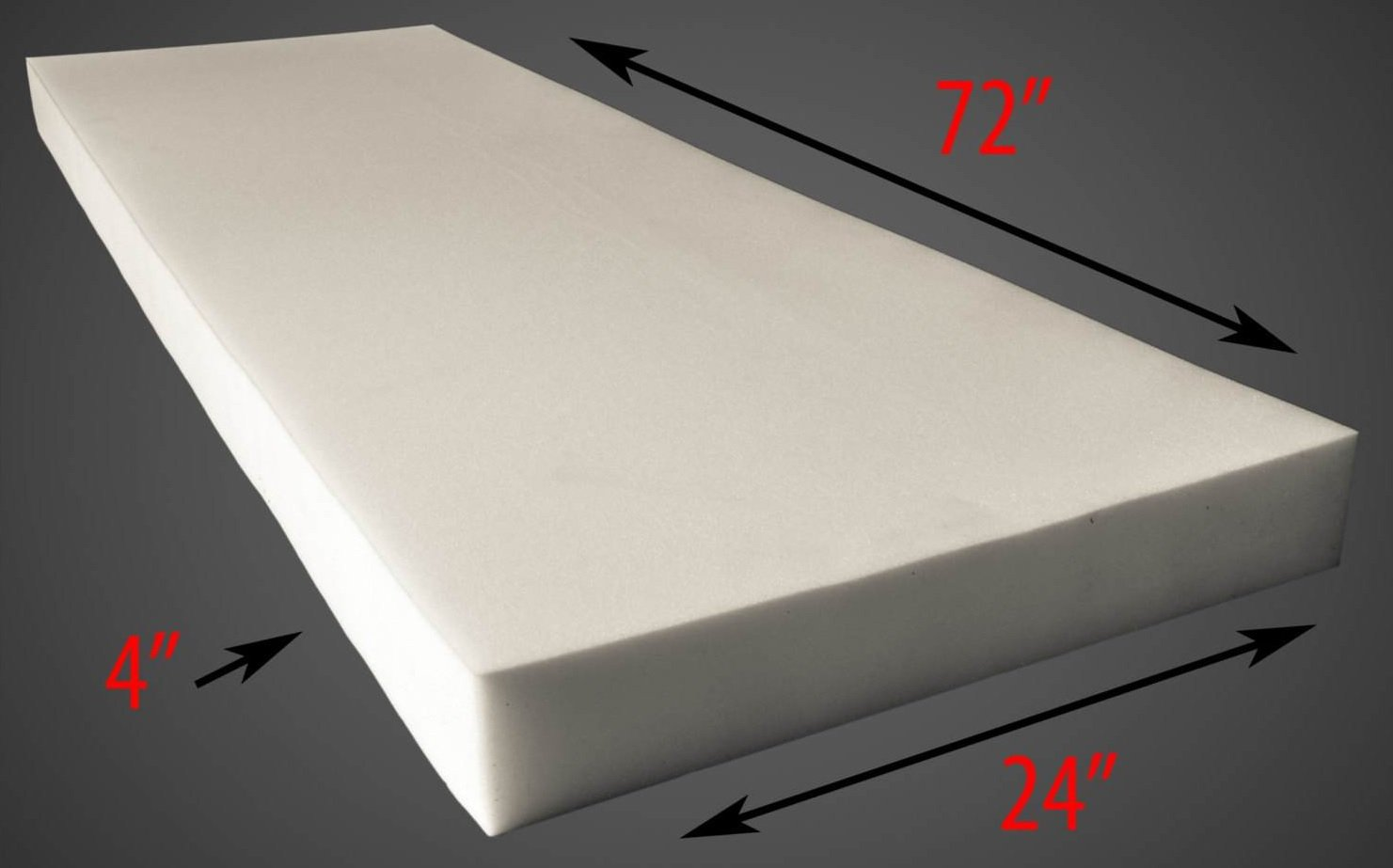 AK Trading CO. 4 X 24 X 72 Upholstery Foam Cushion (Seat Replacement, Upholstery Sheet, Foam Padding)