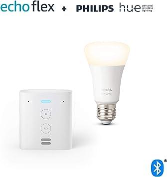 Echo Flex + Philips Hue Bombilla Inteligente (E27), compatible con Alexa