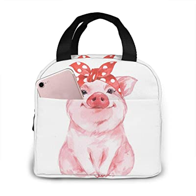 PrelerDIY Cute Pink Pig Lunch Box Insulated Meal Bag Lunch Bag Reusable Snack Bag Food Container For Boys Girls Men Women School Work Travel Picnic: Kitchen & Dining