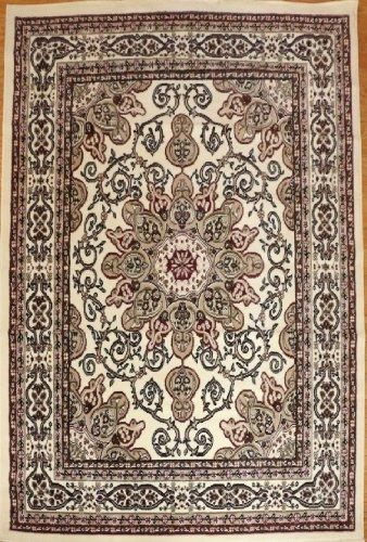 Generations Oriental Traditional Isfahan Persian Area Rug, 2' x 7', Ivory Cream - Isfahan Persian Area Rug