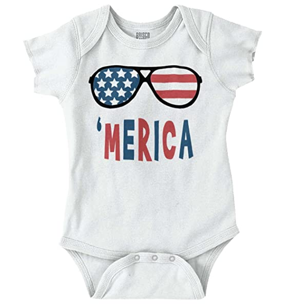 a48b5b126ad Image Unavailable. Image not available for. Color  Brisco Brands Funny  American Flag Glasses Patriotic Pride Romper Bodysuit