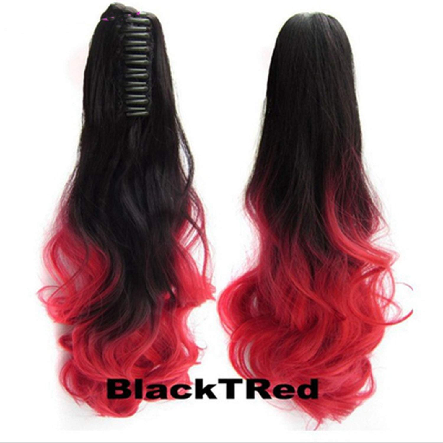 Hair Long Wy Ombre 20'' Clip On Hair Extensions Claw Pony Synthetic Hairpiece Heat Resistant Pony,Red,20inches