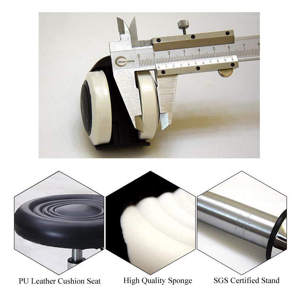 comodo sgabello da bar lavoro 44 cm con sollevamento idraulico bellezza ufficio DiLiBee sgabello bianco girevole a 360/° con ruote 57 cm bianco altezza regolabile