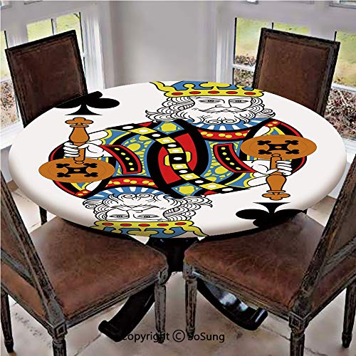 (Elastic Edged Polyester Fitted Table Cover,King of Clubs Playing Gambling Poker Card Game Leisure Theme without Frame Artwork,Fits up to 36