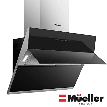 Mueller Deluxe 36 High Air Flow Modern Eurocentric Style Wall Mount Satin Finish Black Tempered Glass LED Touch Control Oven Range Hood Vent Cooking Fan