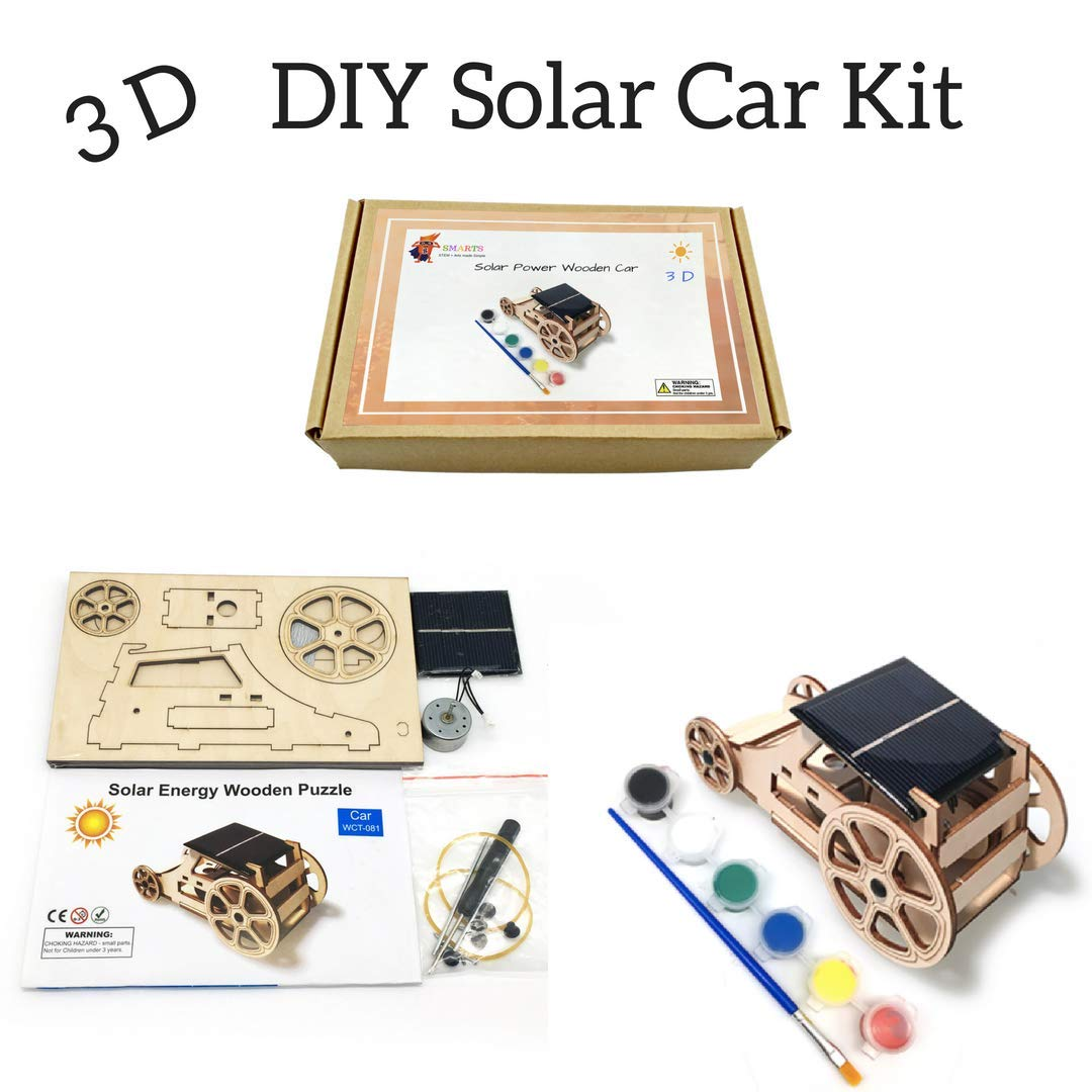 3D DIY Wooden Solar Car Robotics Engineering Maker Kit - STEM Circuit Building Kits Creative Project with Motor Color Brush - Model Toy Educational Activity - Science Experiment For Kids, Teens Smarts