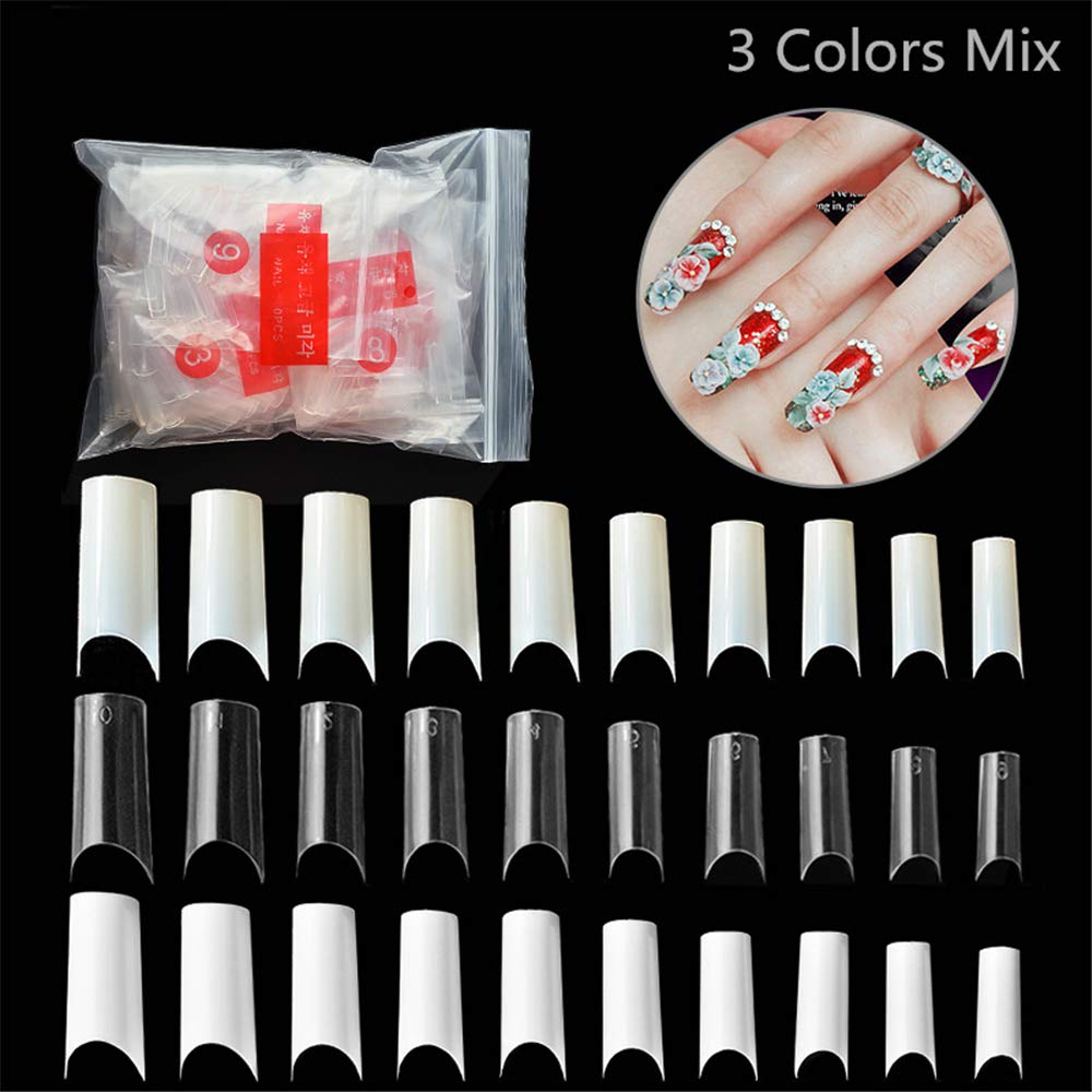 3 Packs 10 Sizes White/Clear/Natural Mix Colors False French Style Acrylic UV Gel Nail Tips C Curved Fake Nail Half Cover Nail Art False Nails Pack of 500 Tips by Mezerdoo