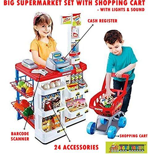 Toy-Station - Pretend Play Set (Big Super Market Set with Shopping Basket &  Cash Register)