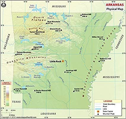 Amazon Com Arkansas Physical Map 36 W X 33 76 H Office Products