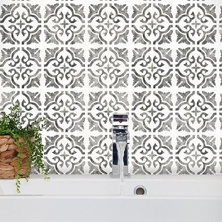 Mediterráneo – Plantilla de azulejos de Sevilla España Moruno Muebles Suelo Pared Plantilla, Medium A3: Amazon.es: Hogar
