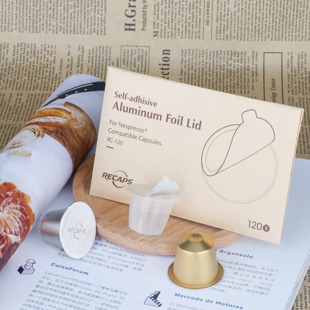 Recaps Espresso de aluminio tapas para reutilizable Nespresso cápsulas de sellos | fácil de llenar tu propia cápsulas con nuestro adhesivo tapa ...