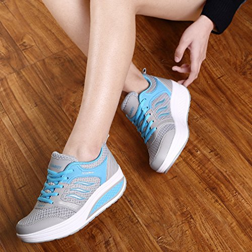 Go Light Blue Women's Running Wedge Fitness Platform Heel Solshine Athletic Shoes Weight Walking HwZ0xn5q
