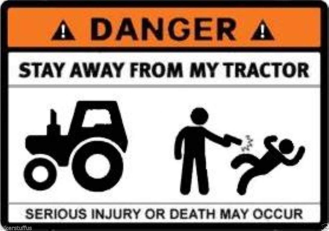 x 2.5 in. MFX Design Danger Stay Away from My Tractor Sticker Decal Bumper Sticker Decal Vinyl Made in USA 3.5 in