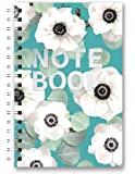 Studio Oh! Medium Hardcover Spiral Notebook, White Flowers on Slate Blue (SJ098)