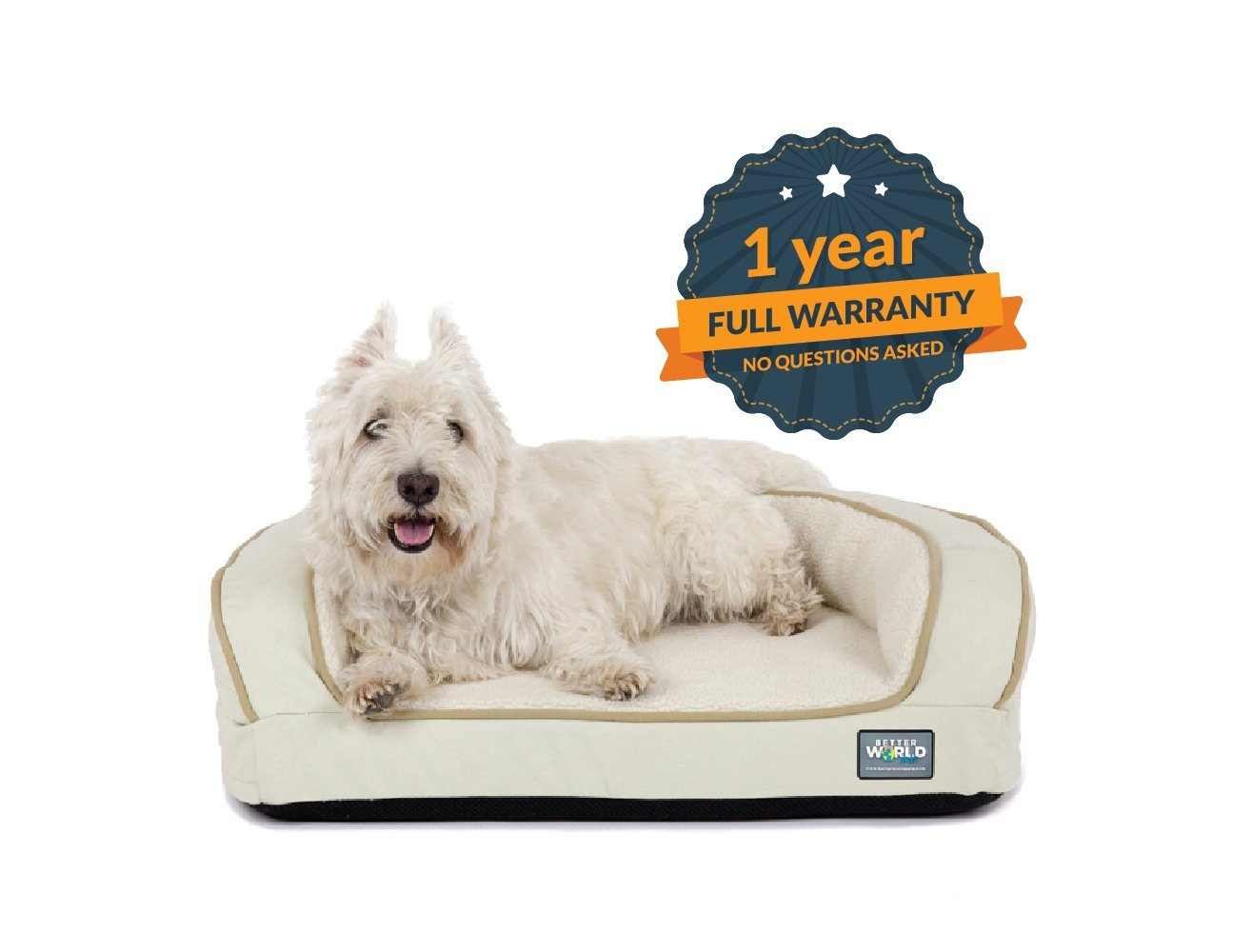 Better World Pets Super Comfort Bolster Dog Bed :: Waterproof Memory Foam Pet Bed with Durable Canvas Cover, Extra Plush Fleece + Foam Bolsters :: 4 Inch Thick, Washable, Small, White Sand by by Better World Pets (Image #7)
